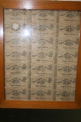 Framed Civil War Uncut sheet 1863 North Carolina 10 cent notes   stk# KSLCHEE