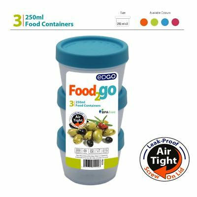 3 x 250ml BPA Free Food Container Airtight Leakproof Screw Lid Lunch Box Storage