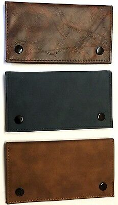 LARGE SMOKERS SOFT PU LEATHER TOBACCO POUCH WALLET with Paper and Zip Sections