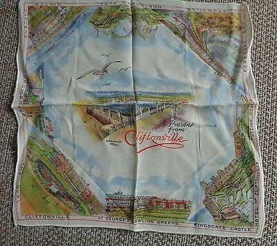 Vintage 1950's Printed Souvenir Handkerchief Hanky - A Present From Cliftonville