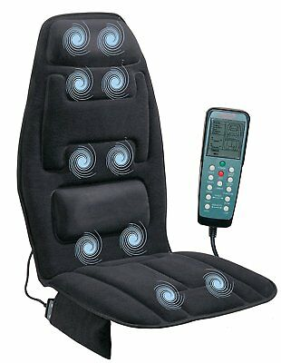10Motor Massage Seat Cushion Massager Heated Black Chair Cover Back Therapy Home