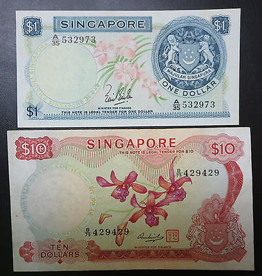 Singapore $1 & $10, one / ten dollars orchid series banknotes 1967, 2 signatures