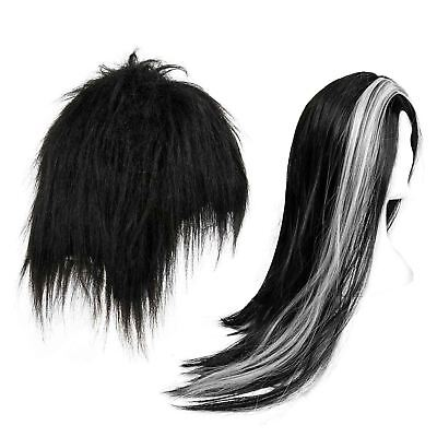 Halloween Adult Vampire Wig Long Black Gothic Fancy Dress Costume Dracula Witch