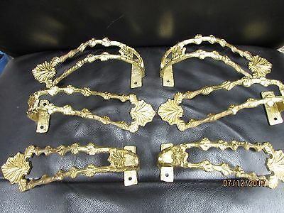 Vintage Gold Tone Brass Curtain Tie Backs Set Of 6