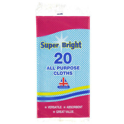 Super Bright Kitchen Cleaning Household All Purpose Fabric Cloths - Pack of 20