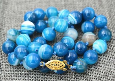 10Mm Rare Blue Chalcedony Agate Beads Necklace18'' Jn359