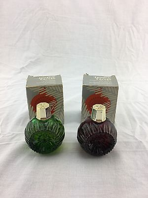 Vintage Avon Christmas Festive Facets Lot of 2 Ornament Heres My Heart Cologne
