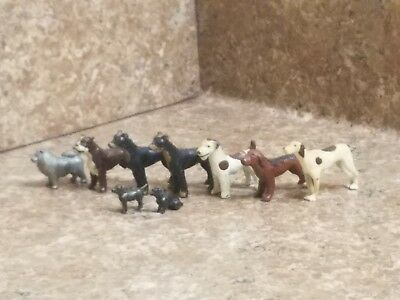 Vintage LOT of 9 Miniature Metal Dogs