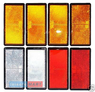 Trailer and truck reflector set rectangular stick on 2X red 2X white 4X amber