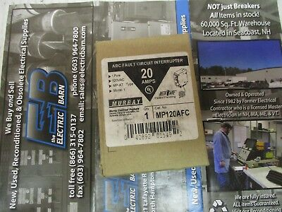 Murray Mp120Afc, 20 Amp 1 Pole Arc Fault Circuit Breaker- New In Box