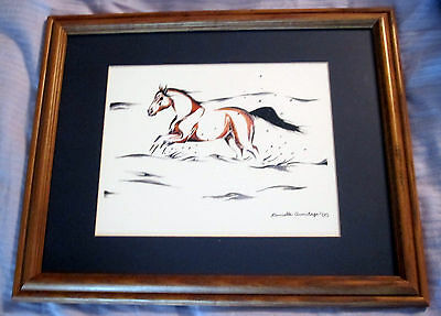 Framed Art Watercolor Horse Painting Danielle Armitage, Maine Artist from 2005
