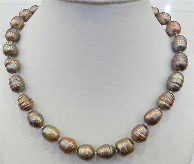 """10-11Mm Champagne Natural Tahitian Pearl Necklace 18"""" Jn315"""