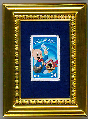 Porky Pig Looney Tunes  -  A Glass Framed Collectible Postage Masterpiece!