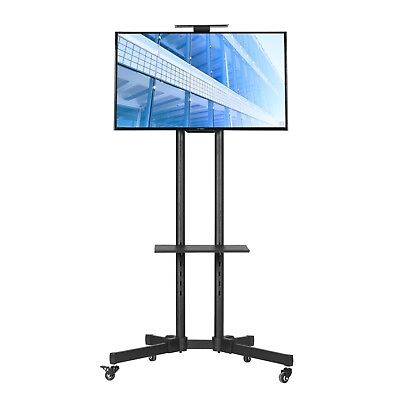 "MMT Black Metal TV trolley stand on wheels for 25"", 32"" - 65"" LCD LED 2 shelves"