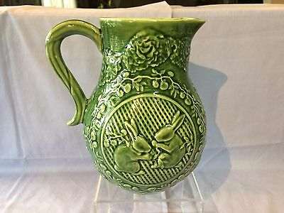 """BORDALLO PINHEIRO Portugal Green Rabbits & Cabbage 7-1/2"""" PITCHER with handle"""