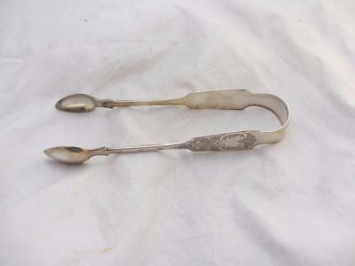 Sterling Silver Sugar Tongs Antique Victorian Dublin 1848. MBN02381