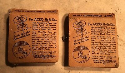 2 Sets Vintage Window Markers ~ Numbering Tacks by Acro Industries  Hold=Tite