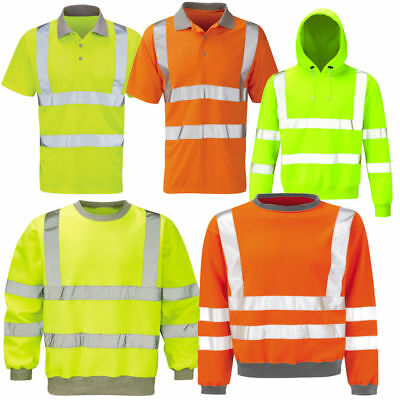 Hi Viz Vis High Visibility Jacket Hoodie Work Hooded SweatShirt Fleece S - 6XL