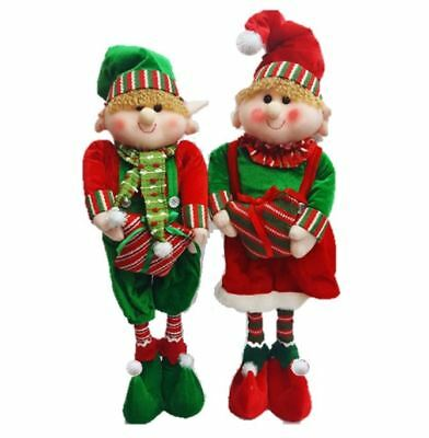 Starmo Elf Extendable Legs Christmas Decorations Approx 42 - 65cm Green & Red