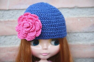 NEO BLYTHE Blue & Pink BEANIE (HAT CAP GORRO), HANDMADE TAILORED by TONA & TINA