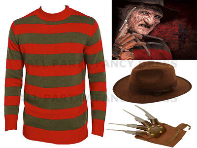 Unisex Adult Freddy Kruger Jumper Hat & Hand Claw Halloween Lot Fancy Outfits