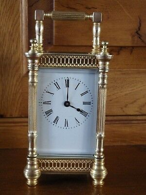 French carriage Clock Fully Restored Case & Movement In The Rare Filigree Case