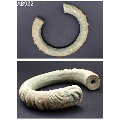 Roman Very Old Patina Real Silver Bangle With Face Heads #932