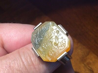 Antique Hand Graved Islamic Agate Stone Ring