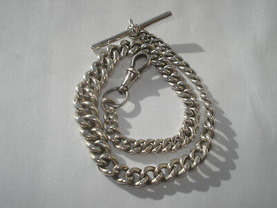 Antique Solid Silver Albert Pocket Watch Chain - Graduated Links All Hallmarked
