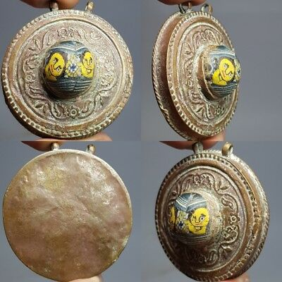 Very Old Phoenician face Glass Wonderful Bronze Pendant # F