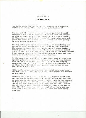 CIVIL RIGHTS Great content signed typescript from Ossie Davis re Malcolm X! RARE