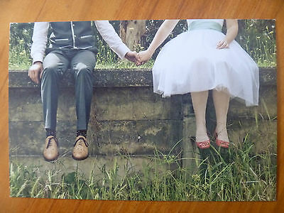 Postcard...wedding Couple Holding Hands..old Brick Wall...love..friendship