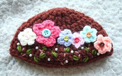 NEO BLYTHE Brown BEANIE, Flowers & Buttons (HAT CAP GORRO). WOOL, HANDMADE, NEW!