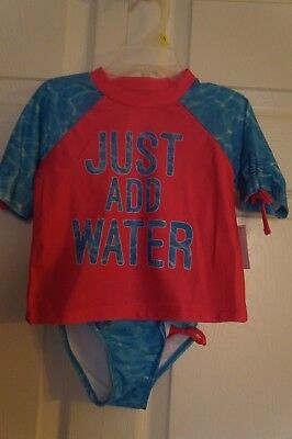"""NEW Toddler Girl """"Just Add Water"""" 2pc Rash Guard Swim Suit Set by OP"""