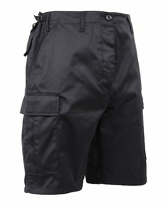 Shorts Black Military Cargo BDU Combat Zipper Fly Rothco 5903