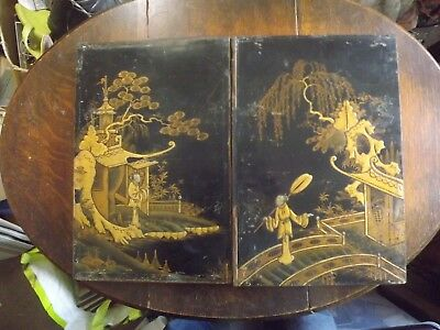 Pair Antique Lacquer Cabinet Doors Only 18C? Chinese? Japanese? Damaged Elements