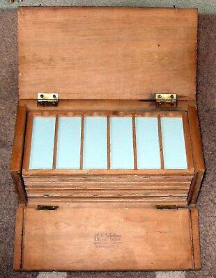 Early PINE  MICROSCOPE SLIDE DISPLAY CASE for 72 mounts