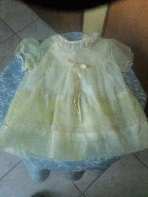 Vintage Child's Dress With Slip 50's Nylon Yellow/pink Flowers Very Pretty