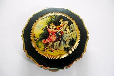 Vtg Stratton Ladies Powder Compact Courting Couple Forest Green Design Gold Tone