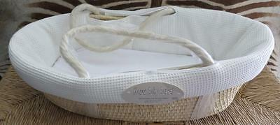 Moses Ecru Waffle Fabric Lined Baby Basket Nwt