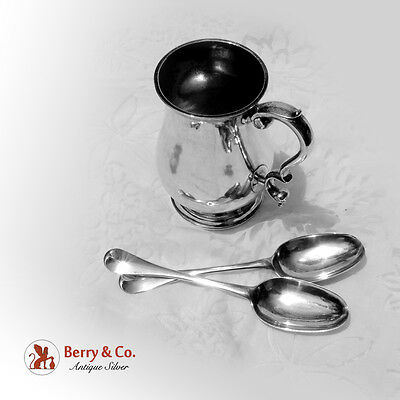 Important American Colonial Silver Mug Tablespoons Samuel Edwards 1745-1760
