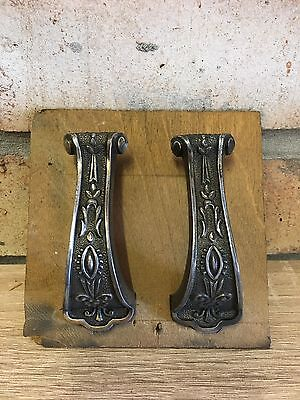 A Pair Of Antique/vintage Decorative Metal Drawer Pull Handles Reclaimed
