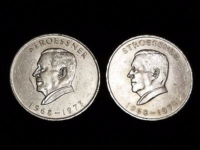 """1968 Paraguay 300 Guaranies Silver Circ. coins """"Last Ones"""" - Lot of 2 (LN391)"""