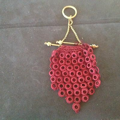 VINTAGE HAND CROCHETED COIN POUCH 1800's GERMANY