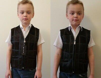 BLACK or BROWN 100% SHEEPSKIN SHEARLING LEATHER KIDS BOYS VEST GILET 4,5,6,7,8yo