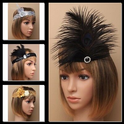 1920's CHARLESTON HEADBAND SEQUIN STRETCH BROW BANDS FEATHER FANCY DRESS 20s UK