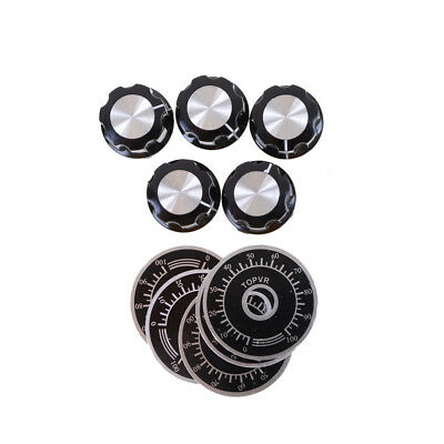 5set Black Rotary Potentiometer Knobs Caps with 5Pcs Counting Dial 0-100 Scale F