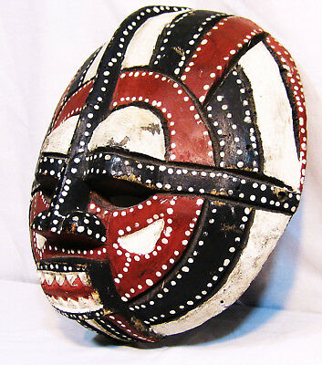 "Large Hand Carved 12"" African Wood Baluba Moon Mask"