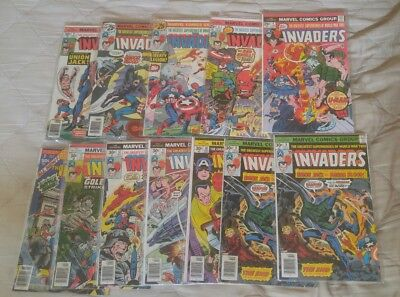 12 The invaders comic book lot 2-13 + annual 1 Marvel 1975