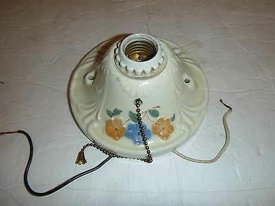 Vintage Ceramic Flower Porcelain Wall Sconce Ceiling Light with Pull Chain